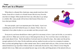Print <i>Pet Care in a Disaster</i> reading comprehension.