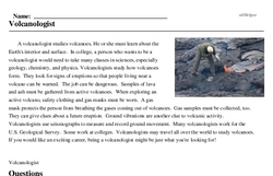 Print <i>Volcanologist</i> reading comprehension.