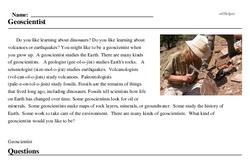 Print <i>Geoscientist</i> reading comprehension.