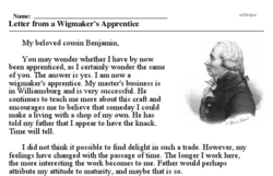 Print <i>Letter from a Wigmaker's Apprentice</i> reading comprehension.