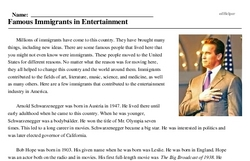 Print <i>Famous Immigrants in Entertainment</i> reading comprehension.