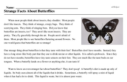 Print <i>Strange Facts About Butterflies</i> reading comprehension.