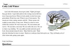 Print <i>Cold, Cold Winter</i> reading comprehension.