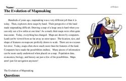 Print <i>The Evolution of Mapmaking</i> reading comprehension.