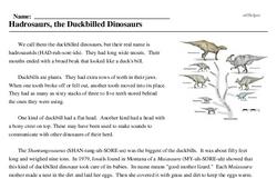 Print <i>Hadrosaurs, the Duckbilled Dinosaurs</i> reading comprehension.