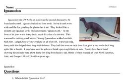 Print <i><i>Iguanodon</i></i> reading comprehension.