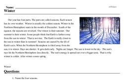 Print <i>Winter</i> reading comprehension.