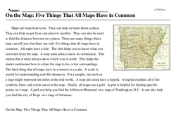 Print <i>On the Map: Five Things That All Maps Have in Common</i> reading comprehension.