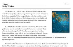 Print <i>Sally Walker</i> reading comprehension.