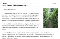 Print <i>Letter from a Williamsburg Maze</i> reading comprehension.