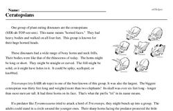 Print <i>Ceratopsians</i> reading comprehension.