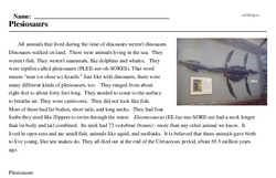 Print <i>Plesiosaurs</i> reading comprehension.