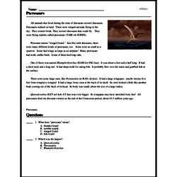 Print <i>Pterosaurs</i> reading comprehension.