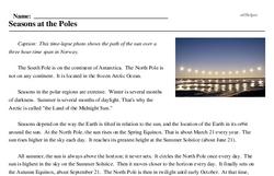 Print <i>Seasons at the Poles</i> reading comprehension.