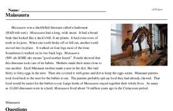 Print <i><i>Maiasaura</i></i> reading comprehension.