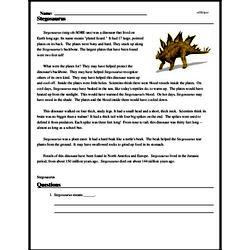 Print <i><i>Stegosaurus</i></i> reading comprehension.