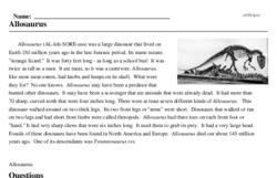 Print <i><i>Allosaurus</i></i> reading comprehension.