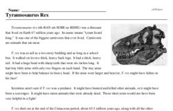 Print <i><i>Tyrannosaurus Rex</i></i> reading comprehension.