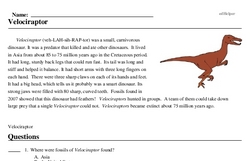 Print <i><i>Velociraptor</i></i> reading comprehension.