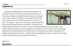 Print <i><i>Diplodocus</i></i> reading comprehension.