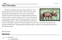 Print <i>Meet Triceratops</i> reading comprehension.
