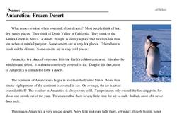 Print <i>Antarctica: Frozen Desert</i> reading comprehension.