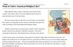 Print <i>What Is Native American Religion Like?</i> reading comprehension.