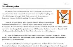 Print <i>Sara Pennypacker</i> reading comprehension.
