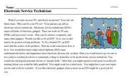 Print <i>Electronic Service Technician</i> reading comprehension.
