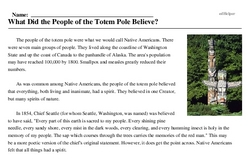 Print <i>What Did the People of the Totem Pole Believe?</i> reading comprehension.