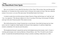 Print <i>The Hunchback from Spain</i> reading comprehension.