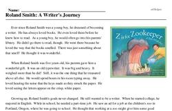 Print <i>Roland Smith: A Writer's Journey</i> reading comprehension.
