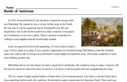 Print <i>Battle of Antietam</i> reading comprehension.