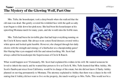 Print <i>The Mystery of the Glowing Wolf, Part One</i> reading comprehension.