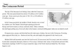 Print <i>The Cretaceous Period</i> reading comprehension.