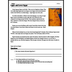 Print <i>Upper and Lower Egypt</i> reading comprehension.