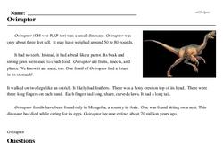Print <i><i>Oviraptor</i></i> reading comprehension.