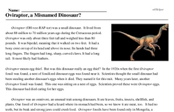 Print <i><i>Oviraptor</i>, a Misnamed Dinosaur?</i> reading comprehension.