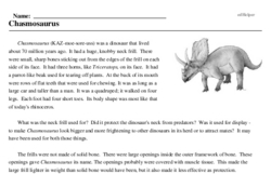 Print <i><i>Chasmosaurus</i></i> reading comprehension.