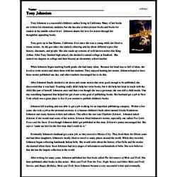 Print <i>Tony Johnston</i> reading comprehension.