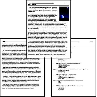 Print <i>Mark Wakely</i> reading comprehension.