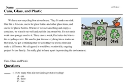 Print <i>Cans, Glass, and Plastic</i> reading comprehension.