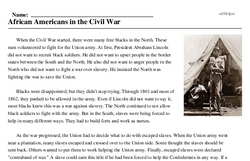 Print <i>African Americans in the Civil War</i> reading comprehension.