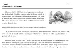 Print <i>Fearsome <i>Allosaurus</i></i> reading comprehension.