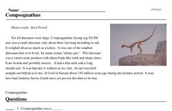 Print <i>Compsognathus</i> reading comprehension.