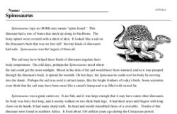 Print <i><i>Spinosaurus</i></i> reading comprehension.