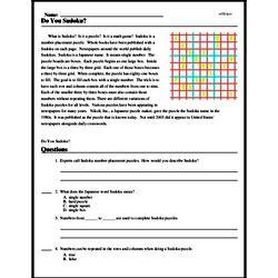 Print <i>Do You Sudoku?</i> reading comprehension.