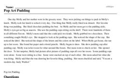 Print <i>Pop Art Pudding</i> reading comprehension.