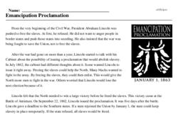 Print <i>Emancipation Proclamation</i> reading comprehension.