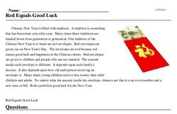 Print <i>Red Equals Good Luck</i> reading comprehension.